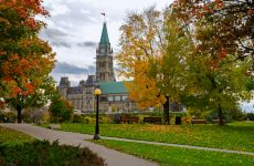 Canadian Parliament Buildings in autumn seen from Major's Hill Park in Ottawa, Canada
