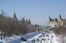 Ice skating on the Rideau Canal (UNESCO) in Ottawa, Ontario Canada (Ice skating on the Rideau Canal