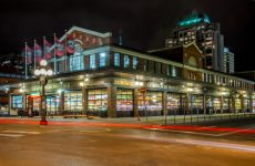 Ottawa, Canada - November 5, 2012: Car Light Trails in front of Ottawa's Byward Market Building on a Clear Night